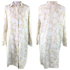 Lands End Tan Floral Print Button Up Dress Size 14